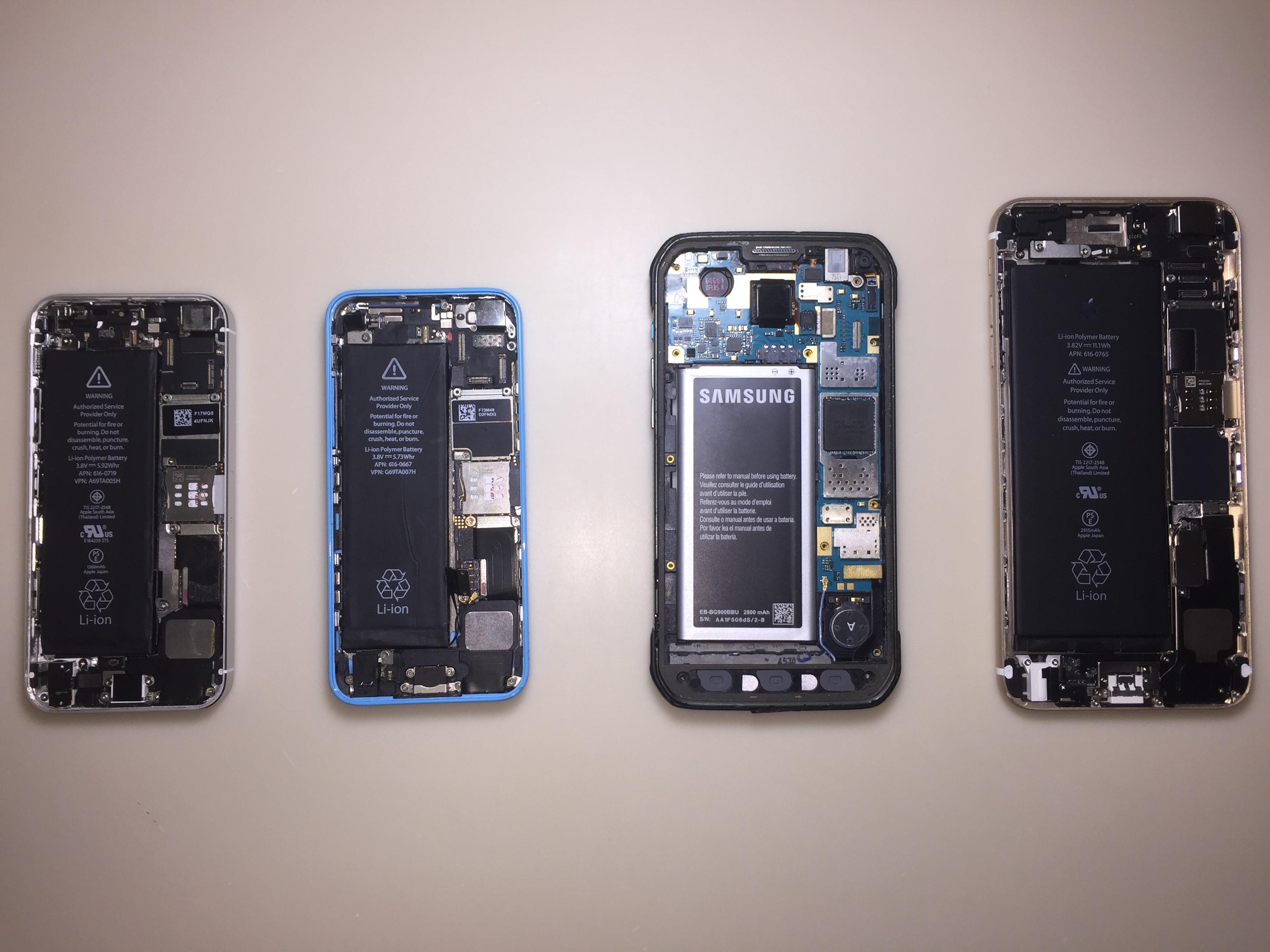 Smartphones internal parts displayed